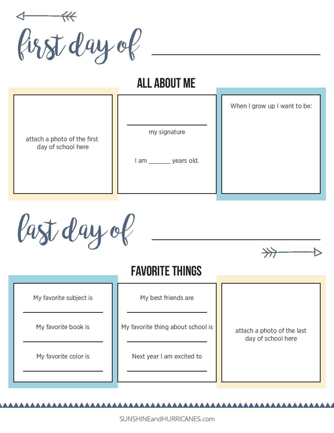 All About Me Printable First Day and Last Day of School. It's amazing how much our children change from the first day of school to the last day. Everything from their signature to their favorite food. Record these little things about them so you don't forget. First Day of School All About Me FREE Printable.