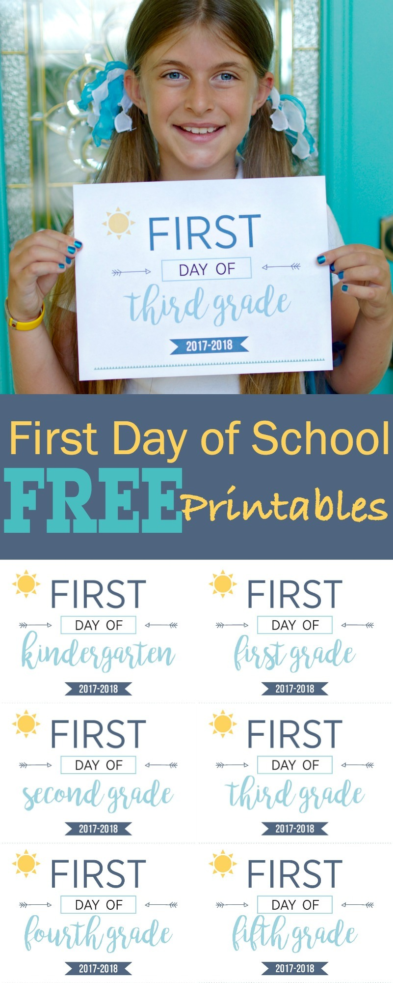 First Day of School Printables. Capture those moments as kids head back to school and watch them as they grow, year after year. FREE Back to School Printables Sunshine and Hurricanes. Last Day of School Printables Included as Well.