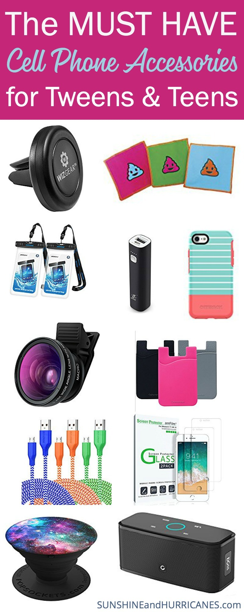 Here are all the trendiest cell phone accessories for teens and tweens to trick out their tech. SunshineandHurricanes.com