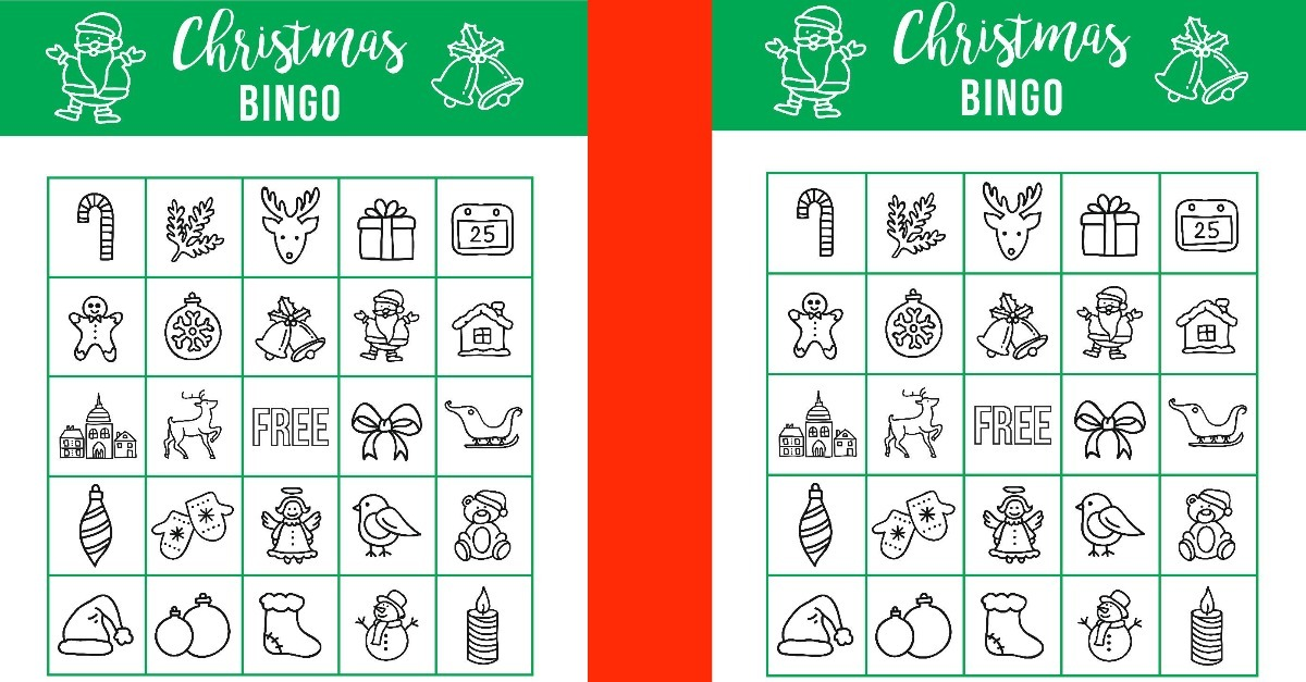 graphic relating to Printable Christmas Bingo called Printable Xmas BINGO - Getaway Online games for Young children