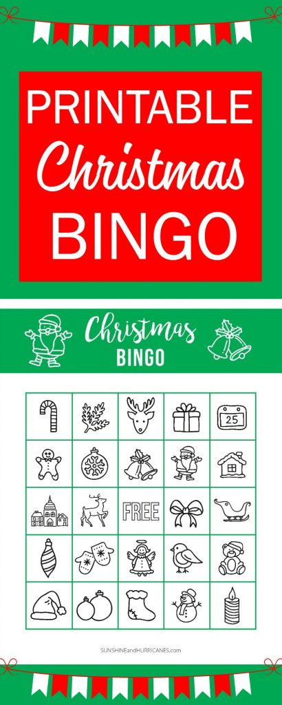 This Printable Christmas BINGO is perfect for a school holiday party or a holiday themed family game night. A great Christmas activity for kids! Sunshine and Hurricanes.