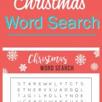 This FREE Printable Christmas Word Search would be perfect for a school holiday party of a Christmas family game night.