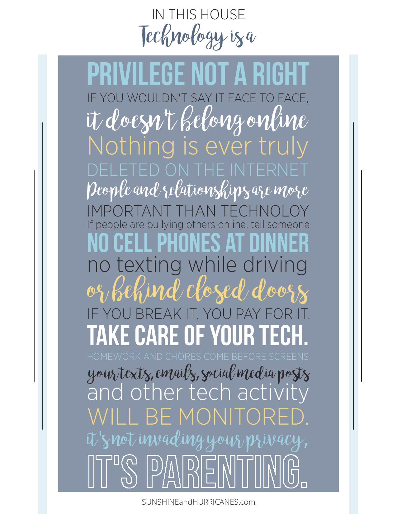 Tech Rules for Teens and Tweens Printable. Your parenting life just got so much easier. Now you have a starting place for setting boundaries when it comes to technology and a way to talk with your teens and tweens about using it safely and responsibly.