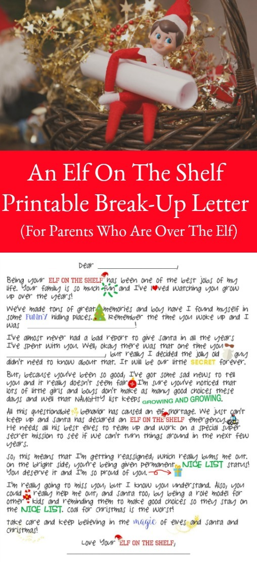 An Elf On The Shelf Break Up Letter (Printable Included)
