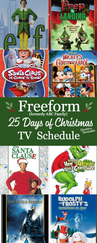 The Freeform 25 Days of Christmas Schedule, formerly known as ABC Family is now the Freeform Schedule for all your holiday favorites - Christmas TV specials and Christmas Movies for whole family
