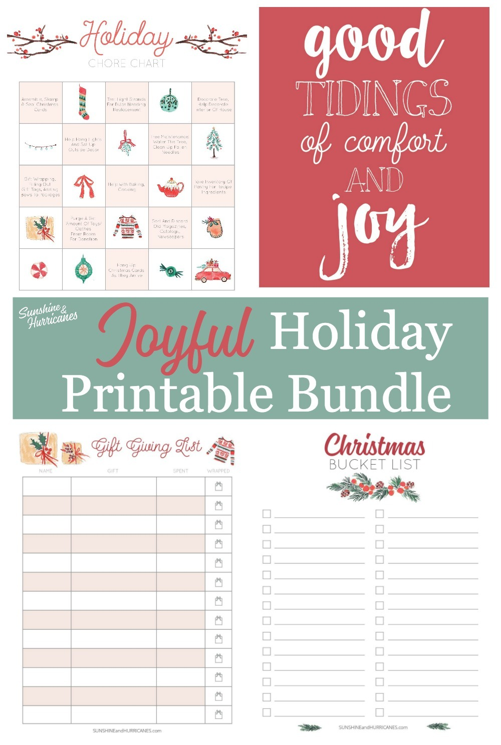 Joyful Holiday Printable Bundle includes holiday chore chart, gift giving list, Christmas Bucket list and Joyful Christmas Quote Wall Art.