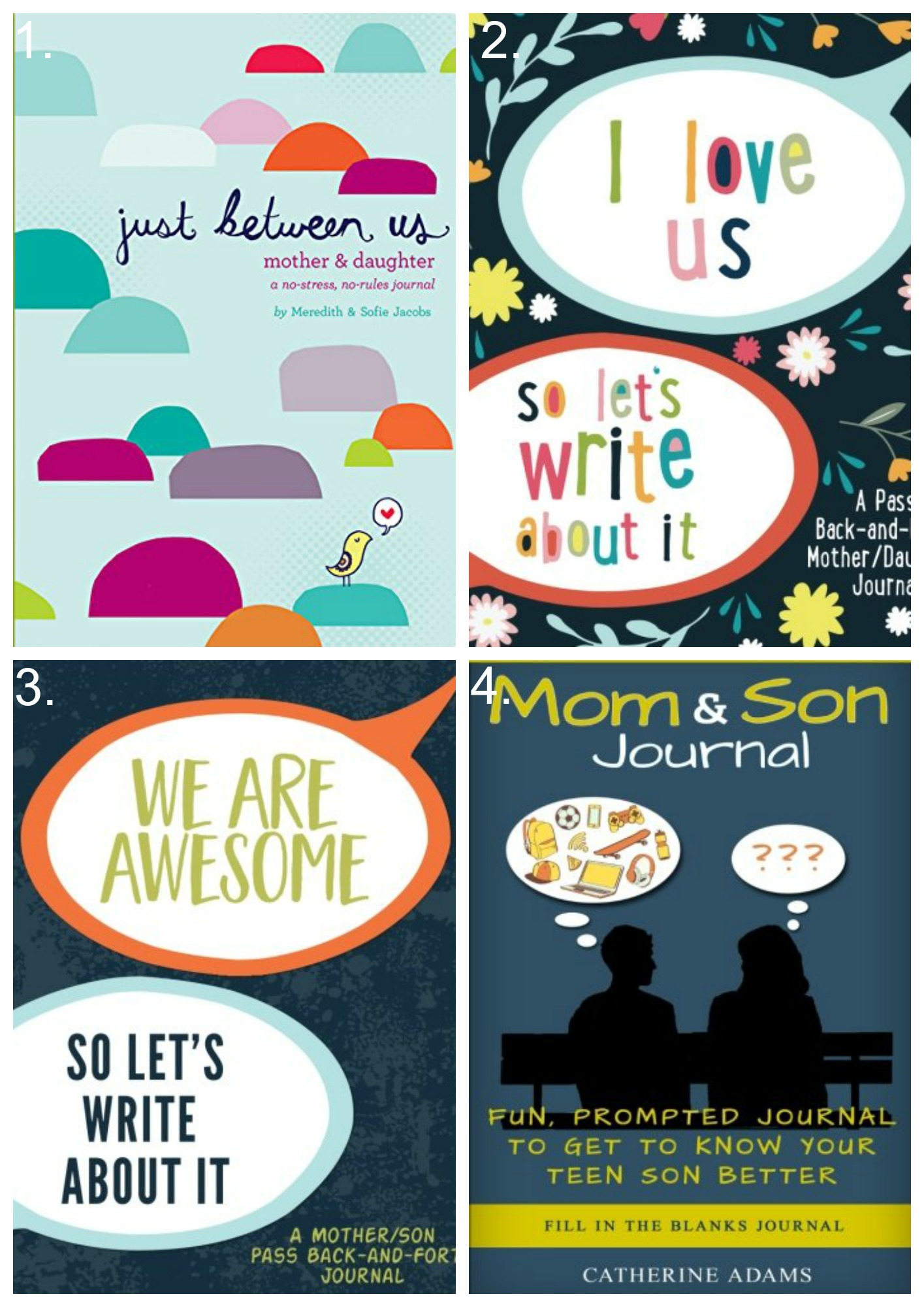 Looking for ways to connect with your teen? Try these mother/son journals or mother/daughter journals.