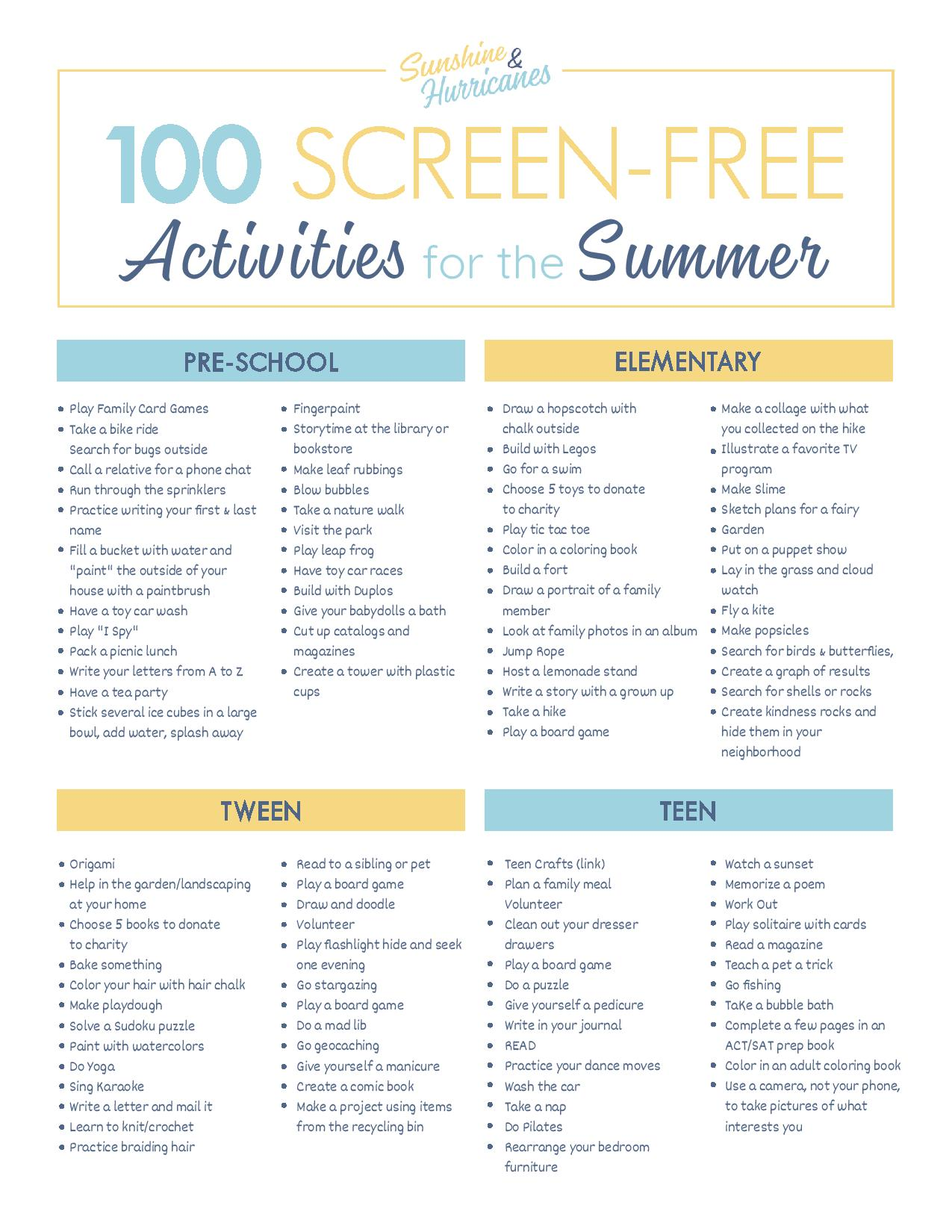 100 Screen Free Summer Activities For Kids