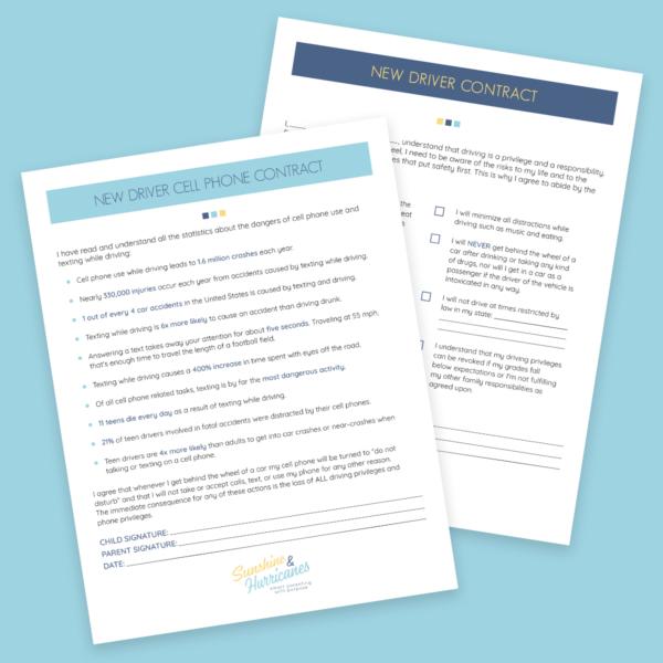 Parent Teen Contract >> New Teen Driver Contracts Printables Bundle