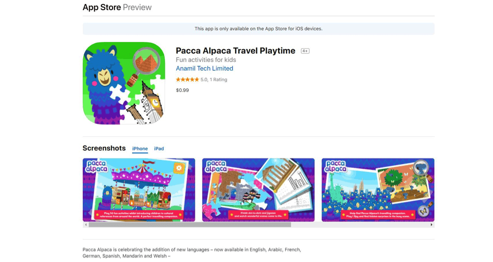 Pacca Alpaca Travel Playtime. Foreign Language Learning App for Kids